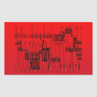 'Life's but a Walking Shadow' Macbeth Shakespeare Rectangular Sticker
