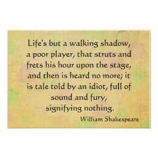 Life's but a walking shadow poster
