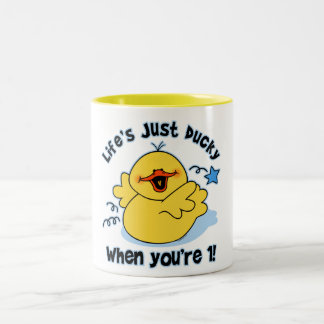 Life's Ducky 1st Birthday Two-Tone Coffee Mug