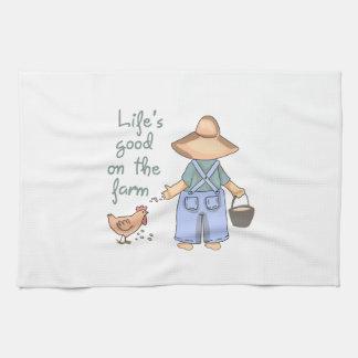 Life's Good On The Farm Hand Towel