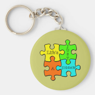 Life's Just A Jigsaw Basic Round Button Keychain