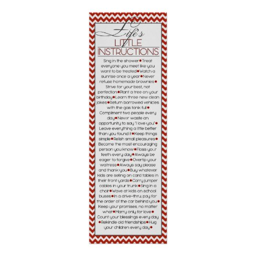 Lifes Little Instructions (red) Poster