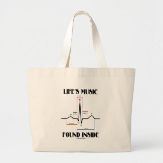 Life's Music Found Inside (ECG/EKG Heartbeat) Tote Bags