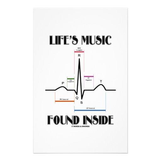Life's Music Found Inside (ECG/EKG Heartbeat) Custom Stationery