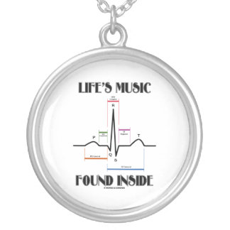Life's Music Found Inside (Electrocardiogram) Silver Plated Necklace