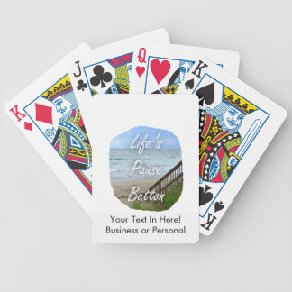 Lifes Pause Button beach ocean florida image Bicycle Playing Cards