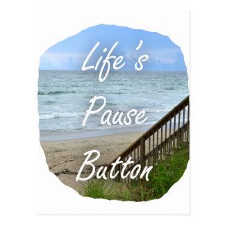 Lifes Pause Button beach ocean florida image Postcard