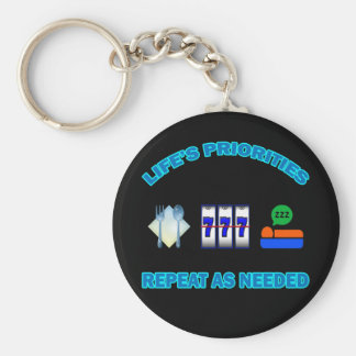 LIFE'S PRIORITIES BASIC ROUND BUTTON KEYCHAIN