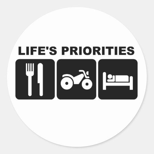 Life's priorities,  bike classic round sticker