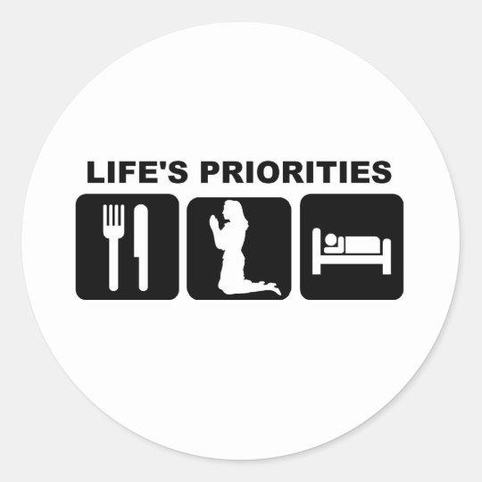 Life's priorities, Praying Classic Round Sticker