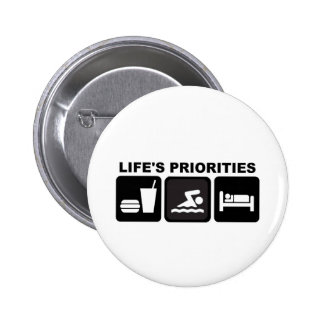 Life's Priorities, Swimming Pinback Button