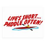 Lifes Short Paddle Often Postcards