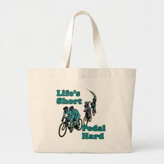Life's Short, Pedal Hard Bicycling Design Jumbo Tote Bag