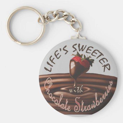 life's sweeter w/ chocolate strawberries keychain