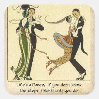 Lifes una danza:  Ejemplo del art déco Pegatina Cuadradas Personalizadas