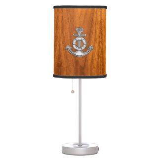 Lifesaver Chrome Anchor on Teak Veneer Table Lamp