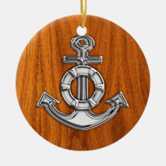 Lifesaver Chrome Like Anchor on Teak Veneer Ceramic Ornament