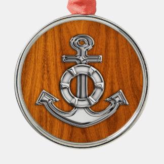 Lifesaver Chrome Like Anchor on Teak Veneer Metal Ornament