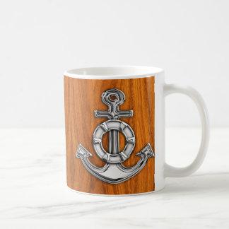 Lifesaver Chrome Style Anchor on Teak Veneer Coffee Mug