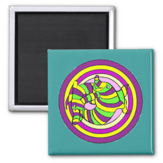 Lifesaver Dolphins into the swirl. 2 Inch Square Magnet