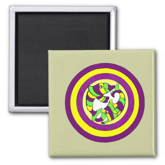 Lifesaver Dolphins into the swirl. Bullseye! 2 Inch Square Magnet