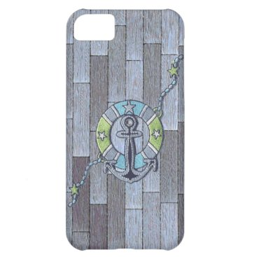 Beach Themed Lifesaver on Stylish Decking Cover For iPhone 5C