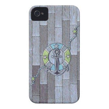 Beach Themed Lifesaver on Stylish Decking iPhone 4 Case