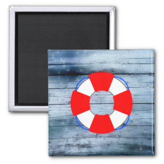 Lifesaver on Wood Board 2 Inch Square Magnet