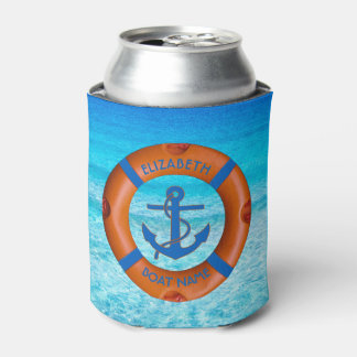Lifesaver With Anchor And Sea Boat Or Yacht Owner Can Cooler