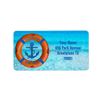 Lifesaver With Anchor And Sea Boat Or Yacht Owner Label