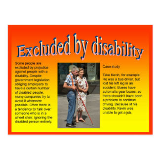 Lifeskills, Citizenship, Excluded by Disability Postcard