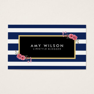 Lifestyle Blogger Social Media Blue White Floral Business Card