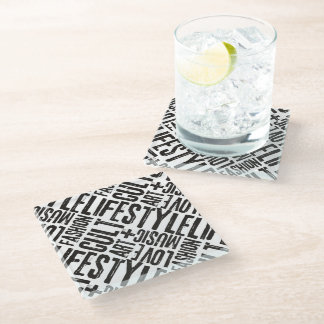 LIFESTYLE FASHION CULT - black Glass Coaster