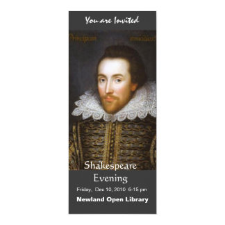 "Lifetime Portrait of Shakespeare 4"" X 9.25"" Invitation Card"