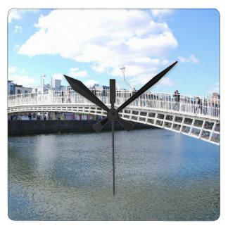 Liffey Bridge - Ha penny Bridge Square Wall Clocks