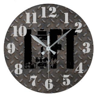 LIFT Diamond Plate Steel Industrial Looking Large Clock