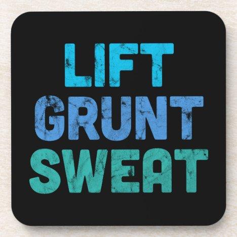 Lift Grunt Sweat Bodybuilder Gym Exercise Beverage Coaster