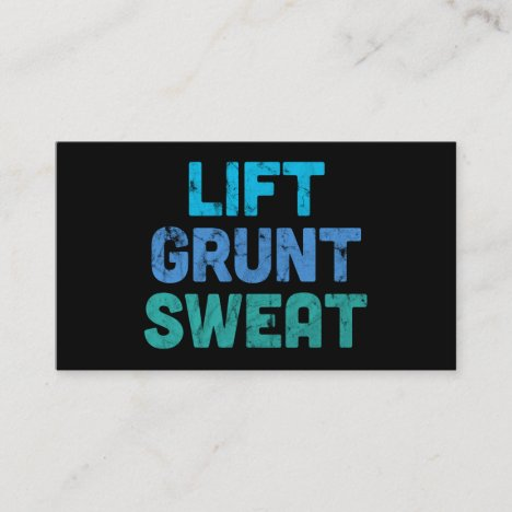 Lift Grunt Sweat Bodybuilder Gym Exercise Business Card