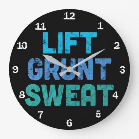 Lift Grunt Sweat Bodybuilder Gym Exercise Large Clock