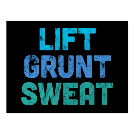 Lift Grunt Sweat Bodybuilder Gym Exercise Postcard