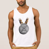 LIFT OR DIE. 45 lb. Plate with Gold Chain Tank Top