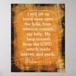 Lift Up Mine Eyes - Psalms 121:1-2 Poster