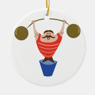 Lifting Dumbbells Double-Sided Ceramic Round Christmas Ornament