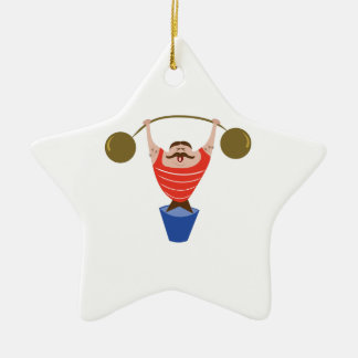 Lifting Dumbbells Double-Sided Star Ceramic Christmas Ornament