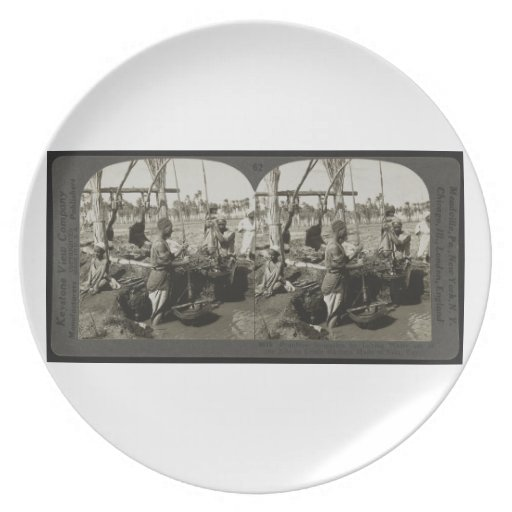 Lifting Water out of the Nile in Egypt circa 1928 Party Plate