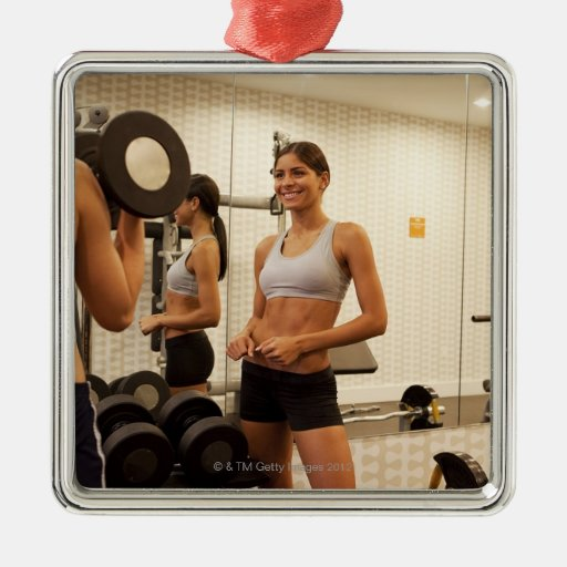 Lifting weights in the gym christmas tree ornament