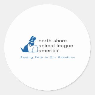 Liga animal de la orilla del norte calificada pegatina redonda