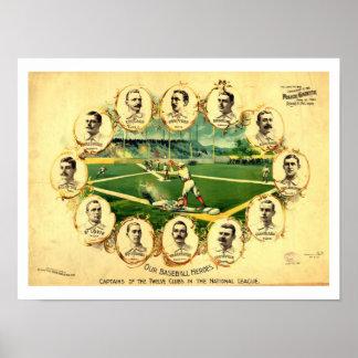 Liga de BÉISBOL nacional de 1895 clubs de los capi Póster
