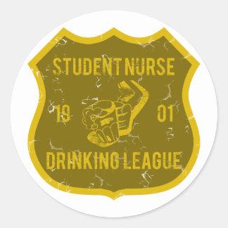 Liga de consumición de la enfermera de estudiante pegatina redonda