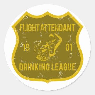 Liga de consumición del asistente de vuelo pegatina redonda